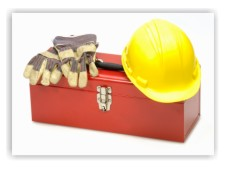 tool box with work gloves and hard hat