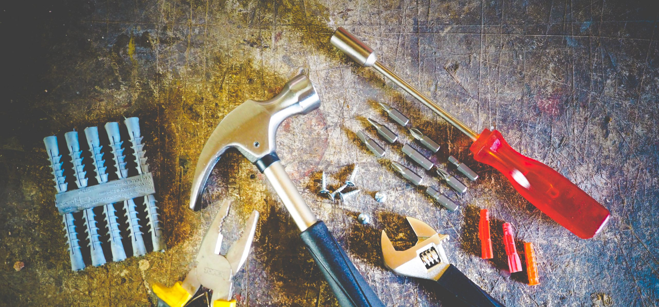 mix of hardware tools