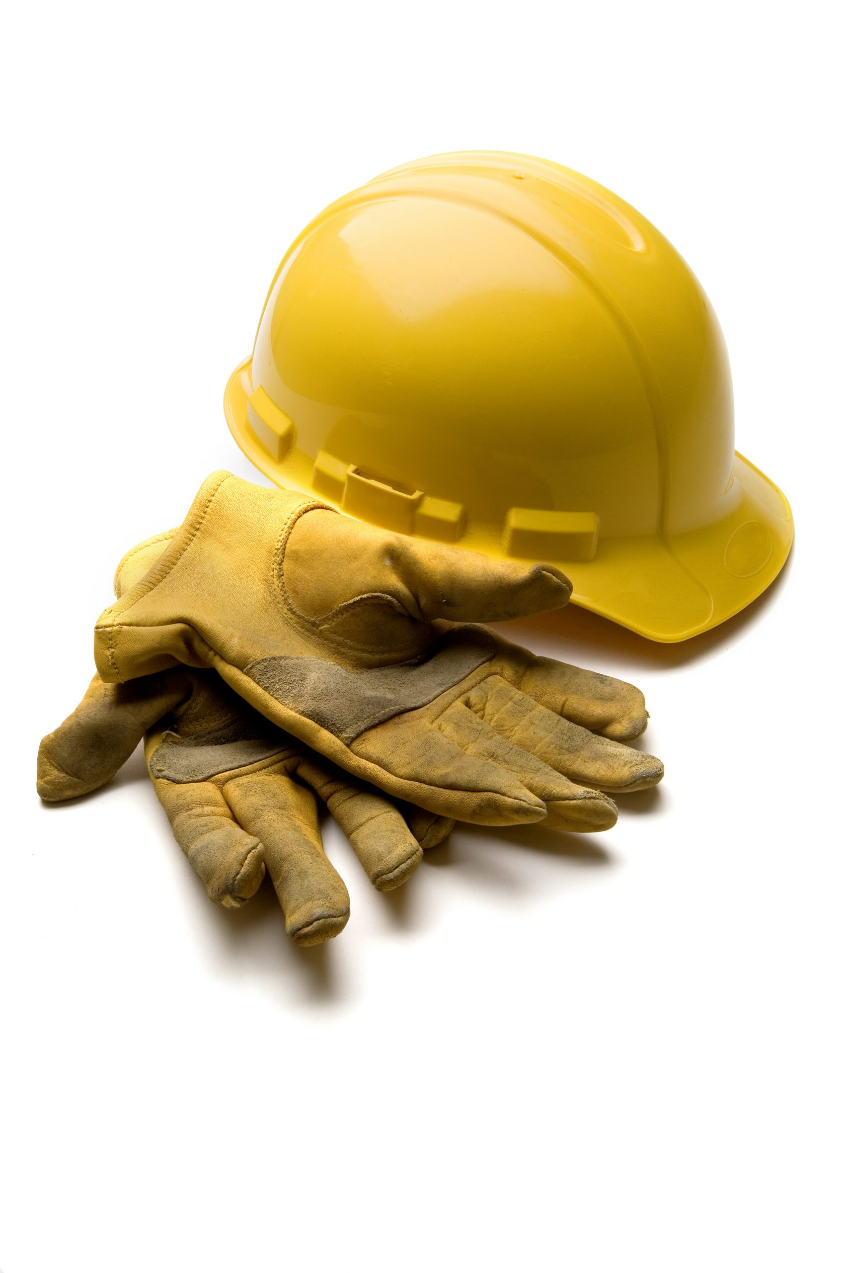 Hard Hat And Leather Gloves