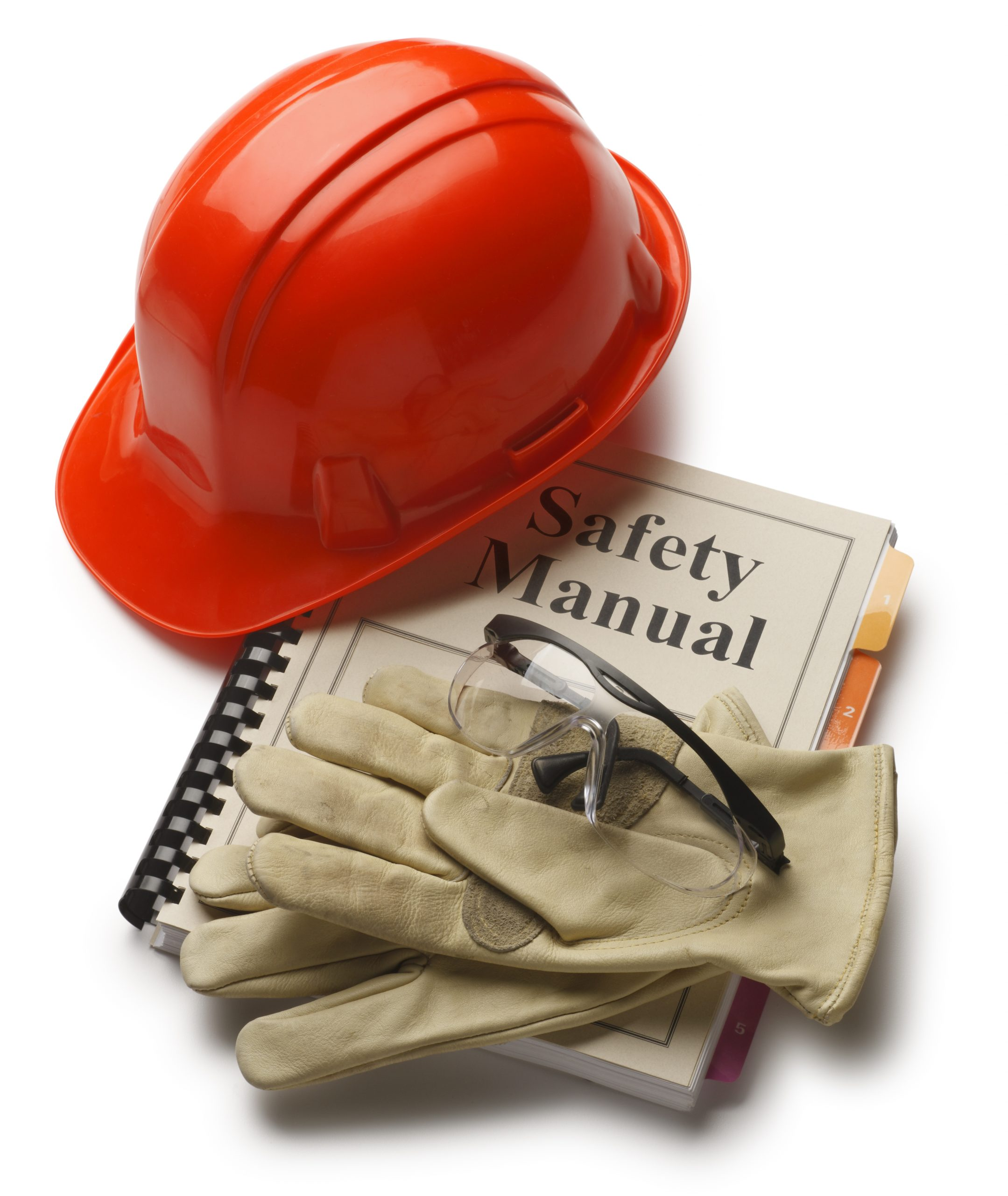 Safety Manual with hard hat, gloves and safety eyeglasses