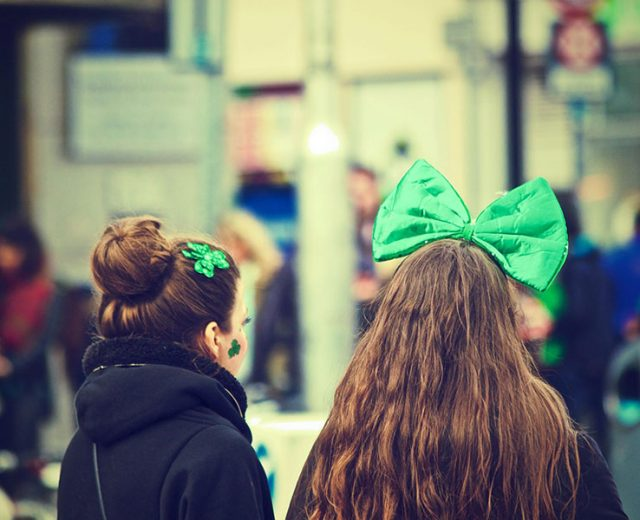 Irish girls with green bows in their hair