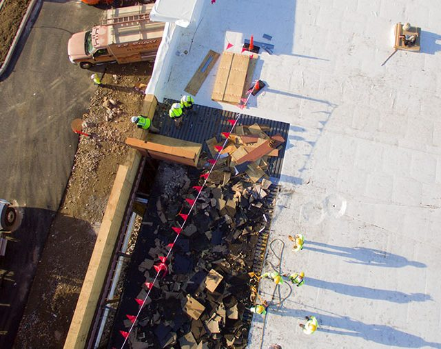 aerial view of a construct job site from a drone
