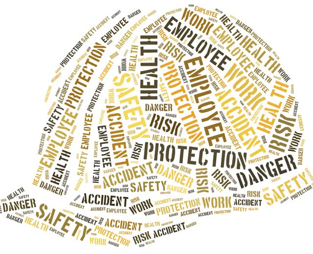 safety word cloud in shape of hardhat