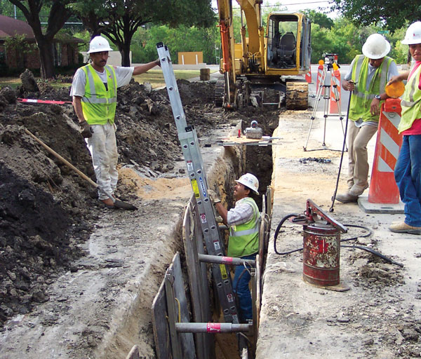 construction workers trenching